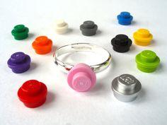 Su color Fav anillo de plata - plateado - hecho a mano con tacos de LEGO(r)