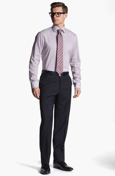 Armani Flat Front Wool Trousers in Blue for Men (navy) | Lyst Formal Pants, Men Trousers, Suit And Tie, Burberry, Suit Jacket, Man Shop, Flats, Wool, Navy