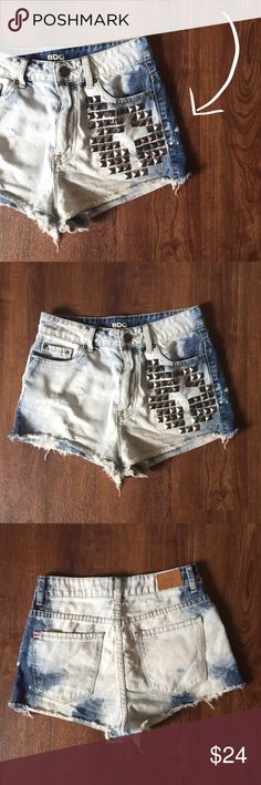 "BDG Studded High Rise Cheeky Shorts Summer time is here!!! So cute! 11"" front rise, 12.5"" back rise, 25.5"" waist, 1.5"" inseam 100% cotton BDG Shorts"