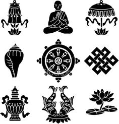 Vector icons of the eight Buddhist treasures. Vector icons of the eight Buddhist treasures. Tibetan Symbols, Wiccan Symbols, Buddhist Symbols, Symbols And Meanings, Buddhist Art, Tattoo Tibetan, Tibetan Art, Budist Tattoo, Lotus Tattoo