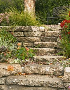 Reused concrete slabs to form the garden steps Concrete Retaining Walls, Concrete Stairs, Concrete Driveways, Concrete Slab, Concrete Design, Walkways, Recycled Concrete, Broken Concrete, Hillside Garden
