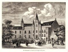 antique print Utrecht 1882 houtgravure bisschopshof