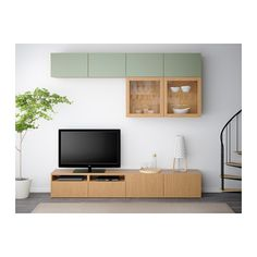 BESTÅ TV storage combination/glass doors - Lappviken green/Sindvik oak effect clear glass, drawer runner, soft-closing - IKEA