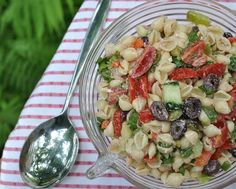 A classic pasta salad, loaded with vegetables in a tangy-creamy feta vinaigrette. Text, photograph and recipe for Greek Pasta Salad © Kitchen Parade, All Rights Reserved. Cucumber Recipes, Summer Salad Recipes, Potluck Recipes, Olive Recipes, Greek Recipes, Greek Salad Pasta, Soup And Salad, Thing 1, I Love Food