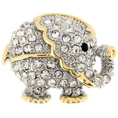 Two-tone Gemstone Elephant Animal Pin Brooch - Overstock™ Shopping - Big Discounts on Brooches & Pins