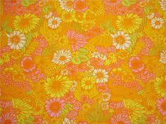 RETRO kanonläckert tyg blommor i soliga färger 60-tal 70-tal på Tradera.