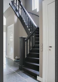Floor Paint in the colour Black, lacquer Traditional Paint Silk White, classico Evening Shadow Black Staircase, Staircase Railings, Staircase Design, Stairways, Bannister, Painted Staircases, Painted Stairs, Painted Floors, Open Trap