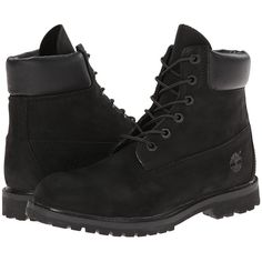 Timberland 6 Premium Boot (Black Nubuck) Women's Lace-up Boots (720 RON) ❤ liked on Polyvore featuring shoes, boots, ankle booties, botas, timberlands, ankle boots, black lace up boots, wide ankle boots, black booties and long black boots