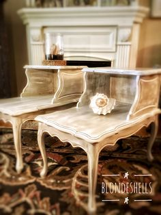 Coastal Beachy Vintage End Tables finishes in Annie Sloan Chalk Paint™