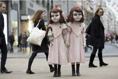 Controversial magician Derren Brown gave commuters a rush-hour shock with these two chilling Victorian sisters.     The 10-year-old girls, dressed in period costume and wearing creepy doll masks,...
