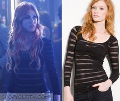 Clary Fray (Katherine McNamara) wears this black mesh striped top in this episode of Shadowhunters. It is the Free People Sheer Striped [...]