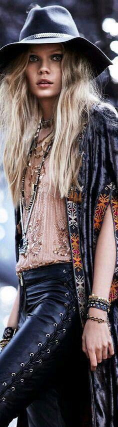 Hat/jacket/pant/necklaces.