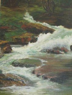 Lou Frank Vintage Plein Air Stream Waterfall Impressionism Landscape Painting | eBay