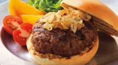 """BRIE AND SHALLOT PARISIAN BURGERS: ~ From: """"Weber.Com."""" ~ Recipe Courtesy of Jamie PURVIANCE ~ Prep.Time: 30 min; Grilling Time: 8 to 10 min; Serves: (4)."""