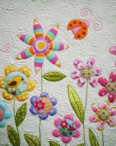 beautiful machine applique and quilting.Kellie makes it look soooo easy.wish I could quilt like this. Longarm Quilting, Free Motion Quilting, Machine Quilting, Spiral Quilting, Quilting Tutorials, Quilting Projects, Quilting Designs, Quilting Ideas, Quilting Templates