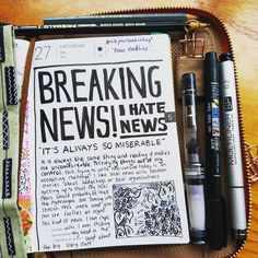 "#rockyourhandwriting - May 27th  ""News Headline""  :  :  :  :  :  :  :  #handlettering #hobonichi #hobonichitecho #ほぼ日 #ほぼ日手帳 #手帳 #journal #日記 #journaling #artjournal #diary #絵日記"