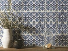 Kutahya on Helmingham from The Winchester Tile Company Pattern Wall, Tile Patterns, Mediterranean Kitchen Tiles, Stylish Kitchen, Fireplace Surrounds, Decorative Tile, Wall Tiles, Interior Styling, Contemporary