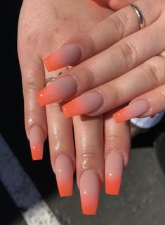 These kinds of excellent looking ombre coffin nail designs genuinely can be your whole spring's acrylic nail art superb ideas. Summer Acrylic Nails, Best Acrylic Nails, Acrylic Nail Designs, Orange Nail Designs, Fire Nails, Orange Nails, Nagel Gel, Square Nails, Pretty Nails