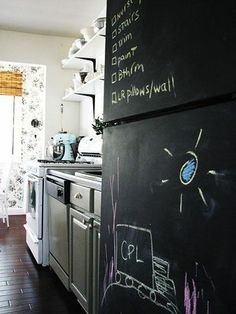 DIY kitchen makeover | BHG.com. Love this idea to live with an ugly fridge for a bit!