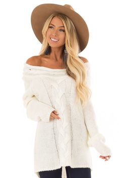 fef478f4b7cc6 Cream Off the Shoulder Knit Sweater with Braided Detail. Cream SweaterBoutique  TopsCute ...
