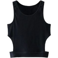 Black Cut Out Ribbed Crop Top (305 ARS) ❤ liked on Polyvore featuring tops, crop tops, shirts, rib crop top, ribbed shirt, cut-out shirts, cotton crop top and rib shirt