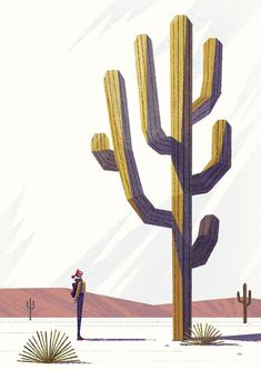 'Girl and cactus' great #illustration by Benjamin Flouw http://designspiration.net/image/13233432444491/ …