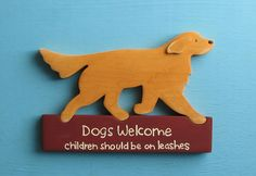 Golden Retriever Dog Welcome Pet Humor Wood Sign Decoration