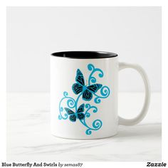 Blue Butterfly And Swirls Two-Tone Coffee Mug Craft Projects For Adults, Projects To Try, Craft Ideas, Plastic Pumpkins, White Spray Paint, Pumpkin Colors, Unique Coffee Mugs, Swirl Pattern