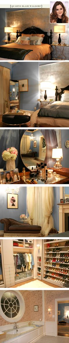 Blair Waldorf's bedroom from Gossip Girl - I need this from soo many bedrooms out of TV shows. I am always wishing for a full view of these rooms.