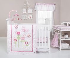 Trend Lab Floral Fun Nursery Crib Bedding Collection or sets White Crib Bedding, Girl Nursery Bedding, Girls Bedding Sets, Crib Bedding Sets, Bedding Shop, Comforter Sets, White Crib Bumper, White Cribs, Beige Bed Linen