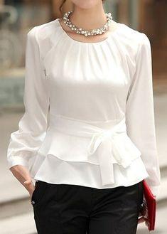 FloryDay / New Year Sale Elegant Round Neckline Long Sleeve, Blouses Blouse Styles, Blouse Designs, Blouse Online, Mode Inspiration, Trendy Fashion, Mens Fashion, Street Fashion, Fashion Tips, Blouses For Women