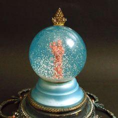 Vintage Virgin with Baby Jesus snow globe RARE rhinestones