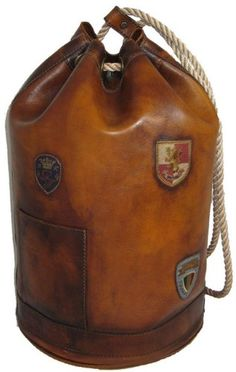 Pratesi Unisex Italian Leather Travel Bag Patagonia in Cow Leather in Brown