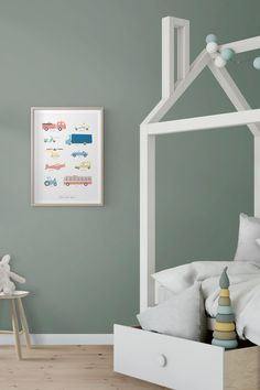 Kunskapstavlan - Decorate your kids room with helpful art! This poster teaches the children the names and spellings of all their favorite vehicles! Buy this one and many more at kunskapstavlan.com - Design that convey knowledge - Scandinavian interior