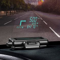 Garmin GPS Displays on Windshield. Heads-Up Display