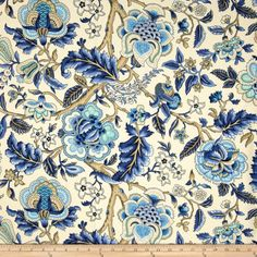 Blue Floral Shower Curtain Fabric Extra Long Sizes Blue Beige Tan Taupe Ivory Off White Bath Decor Flowers Fabric Shower Curtain Elegant Outdoor Cushions, Outdoor Fabric, Motif Art Deco, Waverly Fabric, Floral Shower Curtains, Fabric Wallpaper, Wall Fabric, Fall Wallpaper, Curtain Fabric