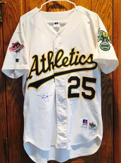 0c1320ca4da mark mcgwire oakland a s signed authentic 1988 russell athletic jersey jsa  coa from  399.95