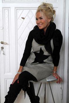 Tunic STAR, Natural/Black - BYPIAS Linen Dresses, Tunics - BYPIAS