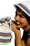 This pattern won't take much to adjust at all for a lovely bike helmet cover!!!!!!! candy striped hat and bag pattern