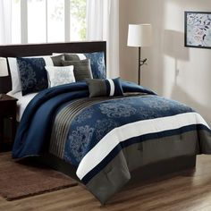 Give a bold look to your living space by selecting this amazing Morgan Home Savannah Blue Patchwork California King Comforter Set. Grey Comforter Sets, White Bedding, Bedding Sets, Bed Sets, Bed Sheet Sets, Bedroom Sets, Bedroom Decor, Master Bedroom, Bedrooms