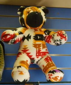 """Here is the Pendleton Bear's buddy, also in a Navajo blanket material and design.  They are great to look at, but are not soft and fluffy, so they are more """"sculpture"""" bears than """"hugging"""" bears."""