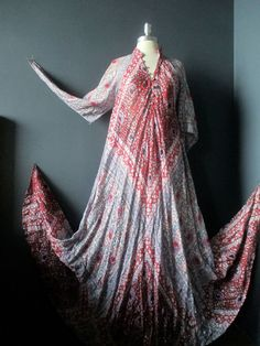 de4065f6a4f Vintage 70 s Bullocks Wilshire Adini Metallic thread India hippie dress  onesize Vintage India