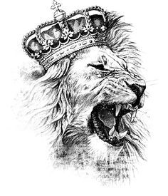 tattoo design - crowned lion - royalty, fierce, family, loyal, strength, wisdom