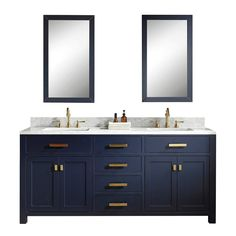 Water Creation Madison 72 in. Bath Vanity in Monarch Blue with Carrara White Marble Vanity Top with Ceramics White Basins and Faucet - The Home Depot Double Sink Bathroom, Bathroom Sink Vanity, Bath Vanities, Master Bathrooms, Dream Bathrooms, Bathroom Cabinets, White Bathroom, Small Double Sink Vanity, Blue Bathrooms