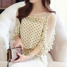 2015 новая сетка половина рукава женский dot шифон рубашка персонализированные дамы кружева блузки C022