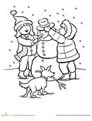 Is your child wishing for a snowy day? Give him this cute coloring page! It features two children making their own snowman in the midst of a winter snow.