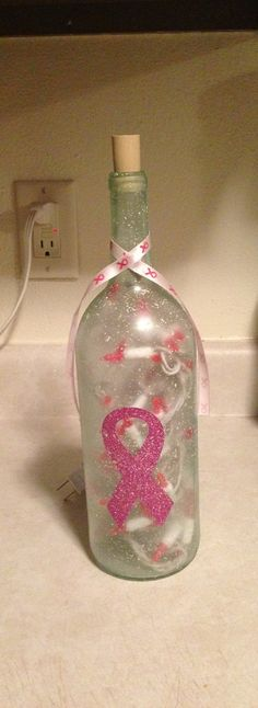 Breast Cancer Awareness Lighted Bottle by ALittleBitCorkie on Etsy