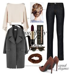 """""""Casual and nude"""" by busraabusalih on Polyvore featuring Sonam Life, Armani Jeans, Lancôme, casual, nude, lancome and armani"""