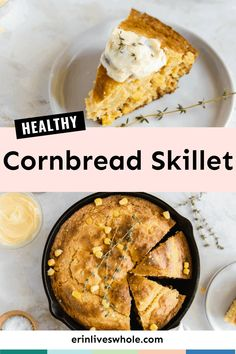 Enjoy Easy Skillet Cornbread, a lightened up twist on the classic dish made with Greek yogurt, almond milk, and actual corn! It's light, fluffy, and just as delicious as it should be. Healthy Cornbread, Skillet Cornbread, Homemade Cornbread, Fall Recipes, Holiday Recipes, Pumpkin Spice Muffins, I Chef, Healthy Snacks, Healthy Breads