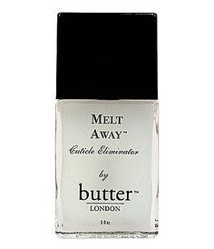 #ButterLondon Melt Away Cuticle Eliminator - works really well if you already try to manage your cuticles. Lay it on thick, let it sit then use a cuticle stick to push back & use a soft brush to remove.